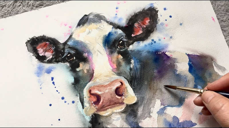 COW PAINTING FREEHAND Watercolor Process Tutorial