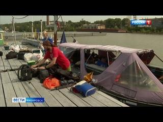Путешественники, плывущие от Иркутска до Шантарских островов, сделали остановку в Хабаровске