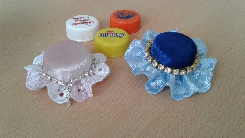 Kola-limonata kapağından şapka toka-magnet-broş-DIY How to Make Mini Hat Brooch from Felt