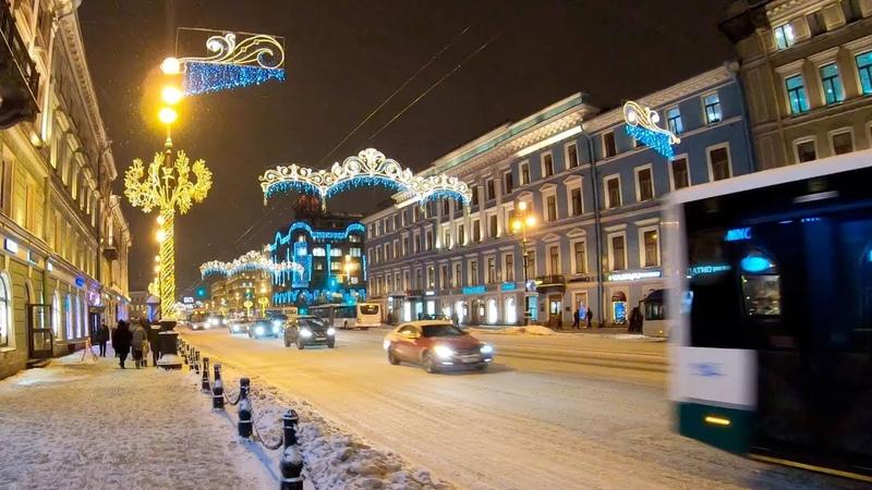 ⁴ᴷ Санкт-Петербург под снегом 2019, Невский Проспект, Дворцовый мост