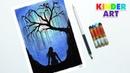 Как нарисовать плакучую иву Ночной пейзаж Рисунок масляной пастелью