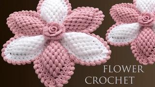 Como hacer flores gigantes con rosa 3D a Crochet para centro de mesa tejido fácil