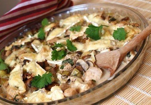 Курица с грибами в сливочном соусе. Ингредиенты:Куриные грудки 2 шт.Шампиньоны 400 гСливки 22% 300 млСпеции по вкусуМасло сливочное 40 гПриготовление:1. Шампиньоны моем и нарезаем крупными