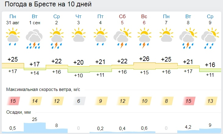 Начало сентября в Бресте будет теплым, но дождливым. Погода в первую неделю осени