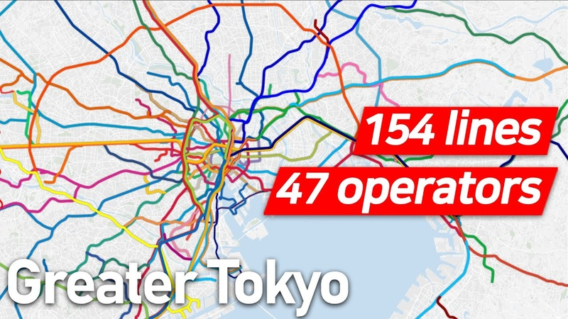 Every Operating Railway System in Greater Tokyo Area Illustrated