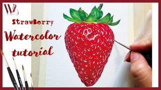 How to paint a realistic strawberry in watercolor   Realistic Food Painting Tutorial- Windy Shih