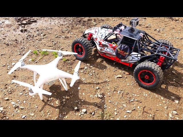 RC ADVENTURES - LOSi DBXL 15 scale 4x4 Buggy DJi PHANTOM 4 Quad Rotor Flying Camera