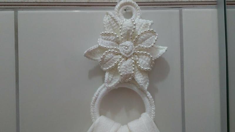 Porta guardanapos ou tolhas com pérolas em Crochê com Maria José