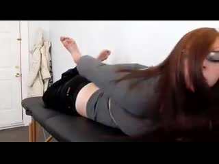 Hogtied tickle nerd girl