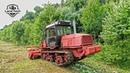 Гусеничный трактор ВТ-150 с навесным мульчером PRINOTH AHWI M500 - тяжелая расчистка просеки под ЛЭП
