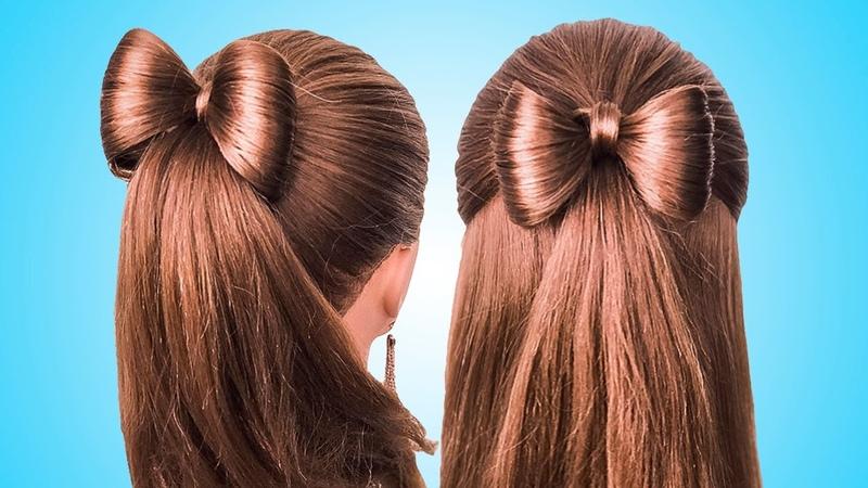 Простые Прически с бантиком на длинные волосы Coiffure avec noeud papillon🎀long Hair bow tutorial