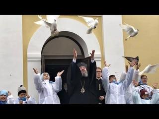 В ПРАЗДНИК БЛАГОВЕЩЕНИЯ АРХИЕПИСКОП ЮСТИНИАН СОВЕРШИЛ ЛИТУРГИЮ В КАЗАНСКОМ СОБОРЕ ЭЛИСТЫ.