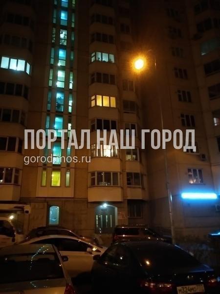 Ответственные службы заменили лампу в светильнике во дворе на проспекте Защитников Москвы
