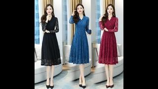 Женское кружевное платье миди черного, синего, бордового цвета, осенне весеннее элегантное подиумное корейское платье с длинным