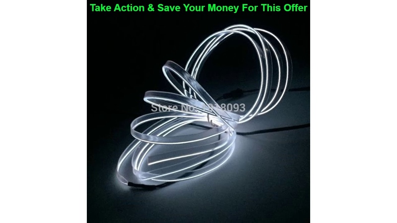 Slide LED Strip EL Wire Tube Rope Flexible Neon Light 2.3mm-skirt 1-25 Meter 10Color Select Car In