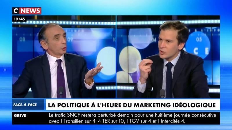 Eric Zemmour VS Gaspard Gantzer sur les élites, la communication, etc. (Face à l'info 11/12/2019)