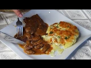 нежный антрекот со сливочным соусом и картофель в сливках
