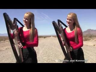 Американские сестры-близнецы игрют на арфах!!! HIGHWAY TO HELL  - AC-DC (Harp Twins electric) Camille and Kennerly