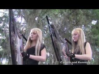 Американские сестры-близнецы игрют на арфах!!!  The ROLLING STONES - Paint It Black (Harp Twins electric) Camille an