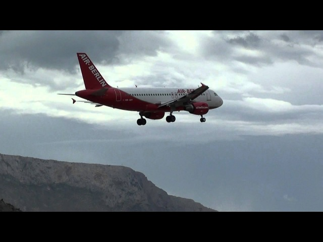 Air Berlin A319 HB IOY Landing Rnw 25 Palermo LICJ HD Strong Wind