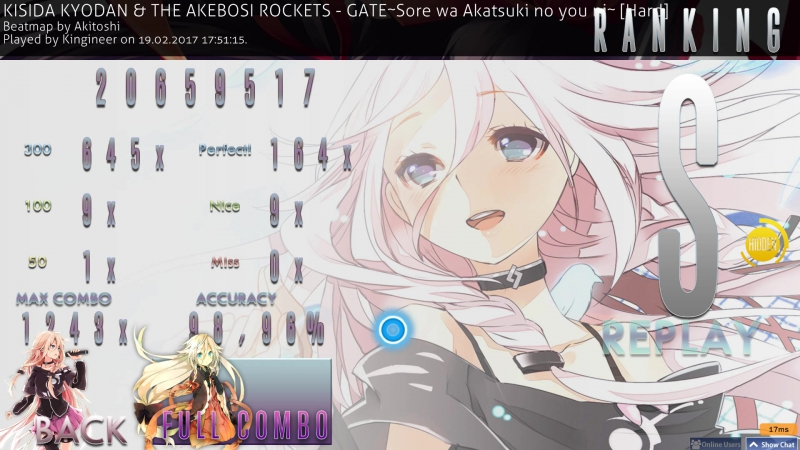 Kisida Kyodan The Akebosi Rockets GATE~Sore wa Akatsuki no Youni~ Hard HD FC 98.96% acc