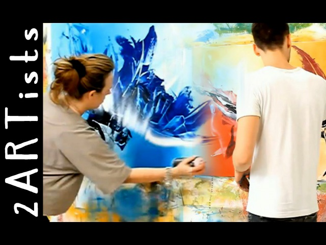 Abstract acrylic painting demo showing parts of personal art lesson by zacher finet