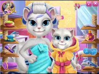 Angela is a cat with a kitten in the beauty salon Кошка Анжела с котенком в салоне красоты La gata