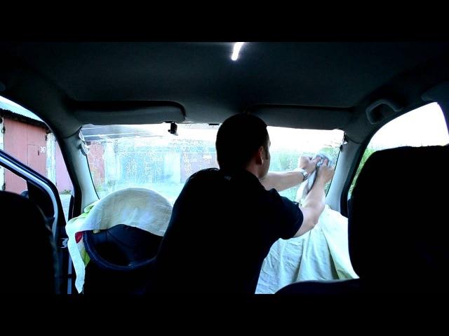 Как клеить полосу Tunir на лобовое стекло (инструкция с салона)