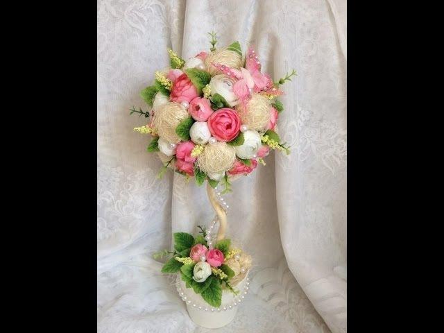 цветочный топиарий из сизали Floral Topiary of sisal