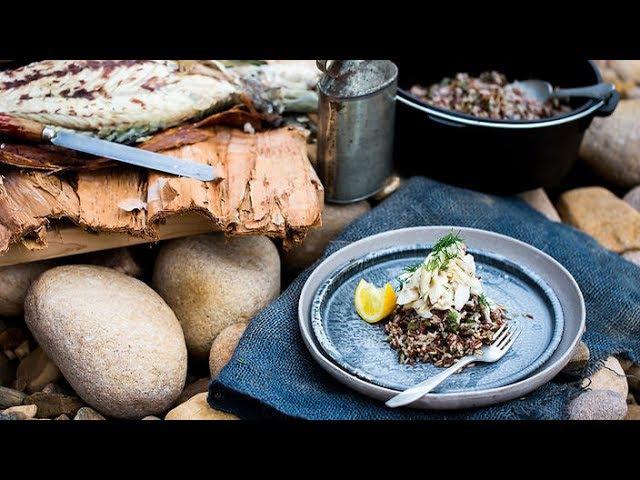 Paperbark barramundi and saltbush wild rice Australian cuisine