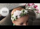 Сборный венок на повязке для малышек МК Канзаши Алена Хорошилова tutorial ribbon tiara flowers diy