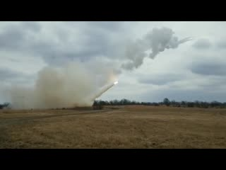 Arkansas national guardsmen launch rockets from the multiple launch rocket system (mlrs) barling