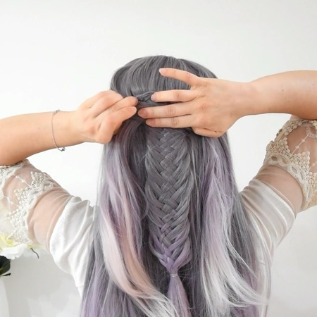 Argentea Lo 🇮🇹 on Instagram Half Up Woven Fishtail Braid DIY 💜 Tag a Friend 👭 Wig @uniwigs uniwigs ✨Use code Lorenza for 20% off now ✨Follow @br