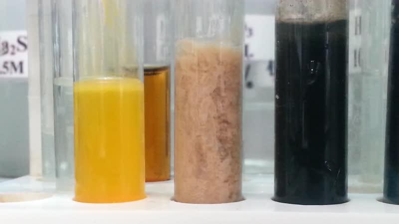 Приливание H2S к Cd(2) и Na2S к Fe(2) и Mn(2)