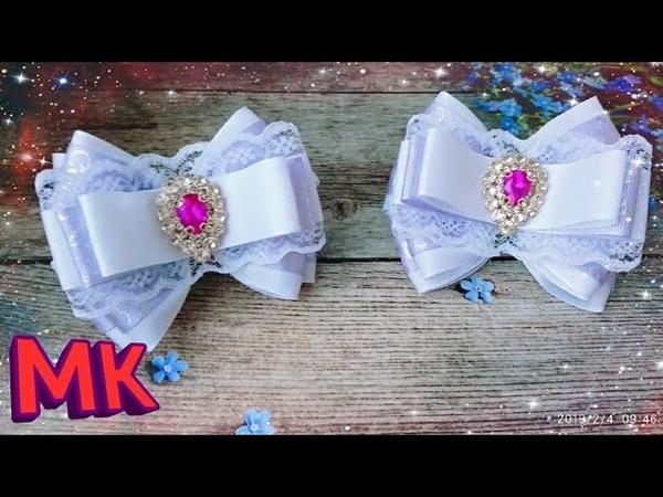 Нарядные банты канзаши из репсовых лент.Nyadnye kantzashi bows from rep ribbons.