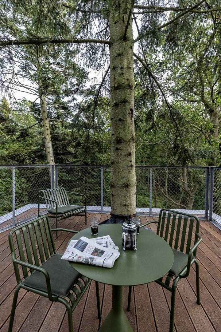 sigurd larsen builds nine wooden cabins for treetop hotel løvtag in a danish fjord