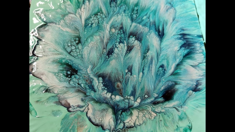 (140) Shades of turquoise / Spiral flower dip / Acrylic pouring technique