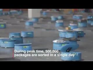 Роботизированный сортировочный центр в Ханчжоу (провинция Чжэцзян) может обрабатывать до 500 000 посылок в день.