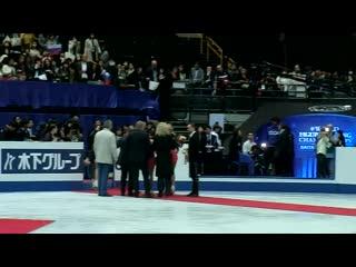 Алина Загитова и тренерский штаб на чемпионате мира