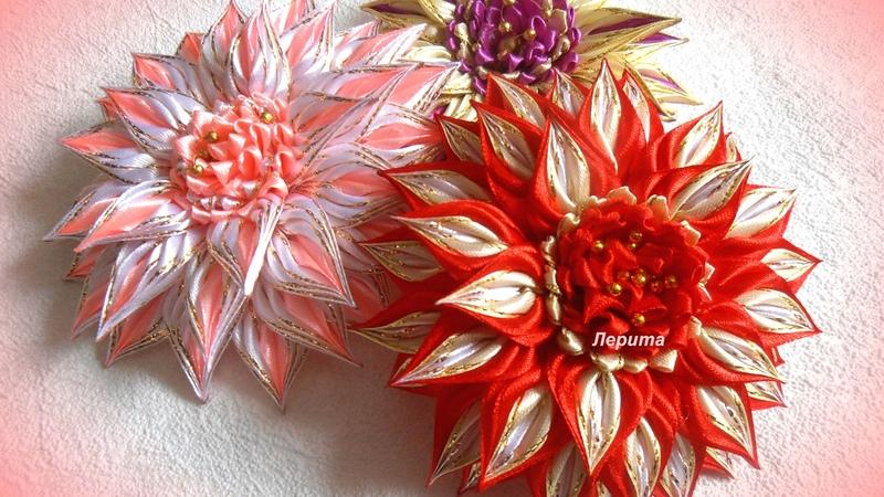 Красивые цветы канзаши из узкой ленты 0 6 см лепесток косичка МК Лерита DIY