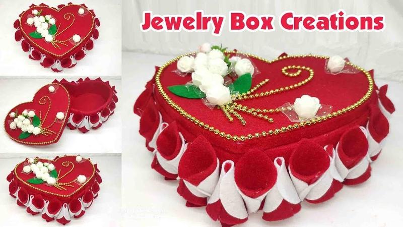 Ide Kreatif - Kreasi Tempat Perhiasan Dari Kain Flanel || Wadah Serba Guna || Jewelry Box Creations