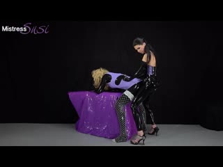 Mistress susi - strapon and milking for the shy rubber sissy - pegging