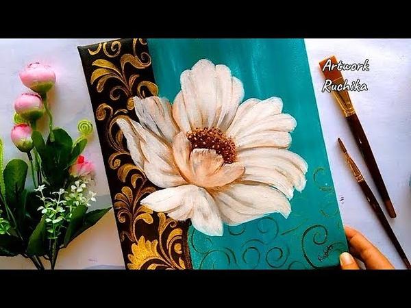 Beautiful Flower Painting | Acrylic Painting Tutorial