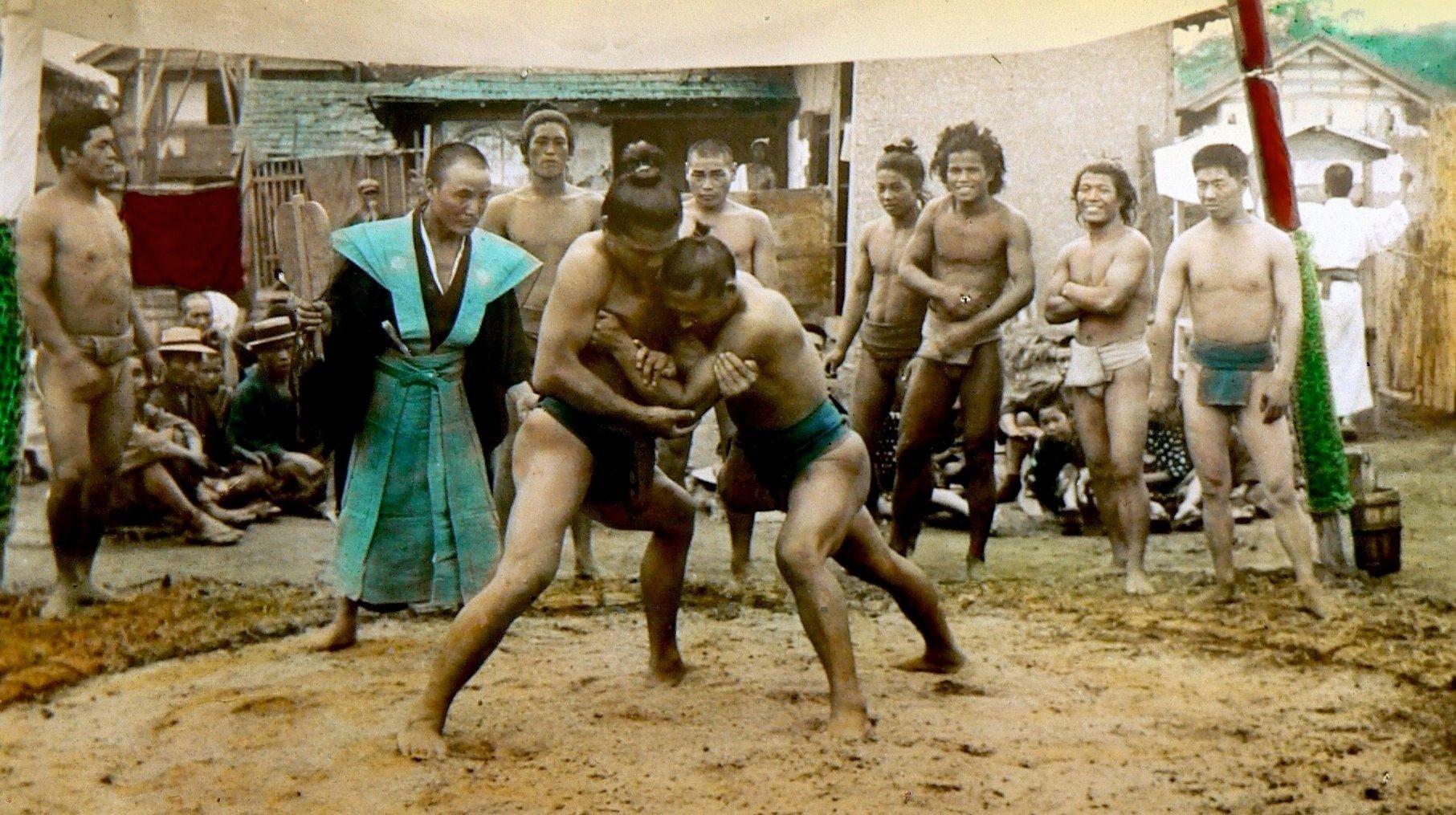 Борцы сумо, Япония, 1898 год.