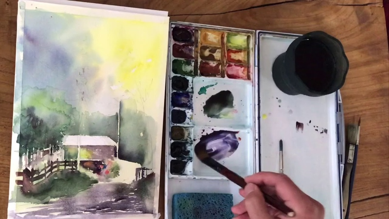 Watercolor demo painting sunshine shadows and a red roof