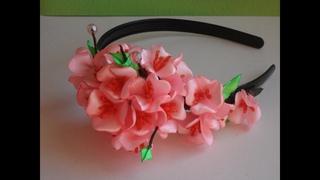 Японская Сакура ободок Канзаши. Japanese Sakura rim kanzashi