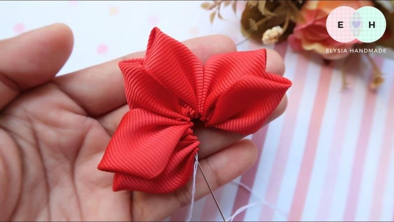 Amazing Kanzashi Flower - Hand Embroidery Works - Ribbon Tricks Easy Making Tutorial 19