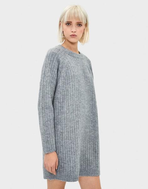 Короткое платье из рифленого трикотажа