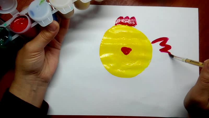 рисование гуашью Цыпленок