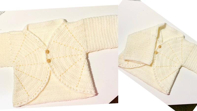 Como tejer sueter a Crochet para bebe 0 a 3 meses chambrita tutorial paso a paso tejidos Bebe